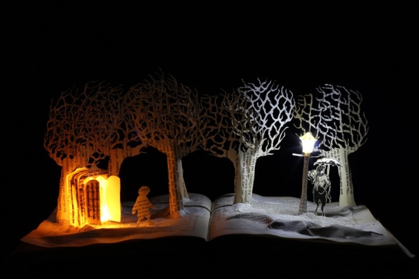 Meeting Mr Tumnus book sculpture Justin Rowe