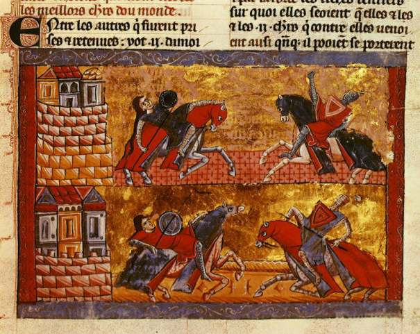 sisters of Queen Antiope jousting against Theseus and Hercules, from a 13th century Jerusalem manuscript now in the British Library